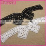 Factory Cheap 44cm*12.5 Water Suloble Nylon Black White Embroidery Neck trim lace collar for garment accessory