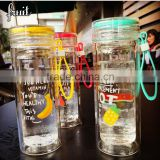 ready stock double wall glass candy color bottle for tea