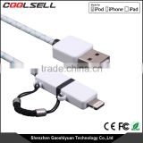 Shenzhen wholesale professional multifunction micro mfi 2 in 1 TPE usb cable charger for iphone samsung