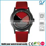 Pvd black hair brushed stainless steel case watch colorful dial hardened mineral glass with red genuine leather strap watch