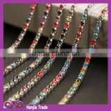 Wholesale ABcolor 2MM-3MM gradient crystal rhinestone chain /Metal rhinestone cup Chain trim
