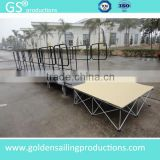 Hot seling aluminum acrylic portable stage with wheelchair ramp for 80cm high stage with landing and guard rails