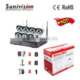 cctv camera system H.264 video coding 2 array led 40m infrared distance 8ch wireless nvr kit