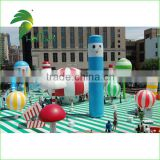 Inflatable Blue Sky Tube For Park Decoration / Inflatable Wave Cute Air Dancer