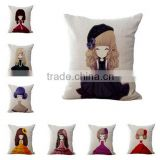 Cute Girl 50pcs MOQ 3D Print Cushion Cover Car Pillow Home Decoration Pillowcase for Office Sofa