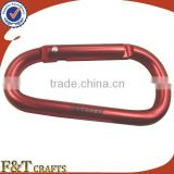 custom large safety hiking anodizing aluminum carabiner keychain clip with printing logo