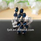 Newest European Style Blue Sapphire Gemstone Silver Ring