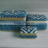 Cheap Handicraft Vietnam bamboo basket, bamboo box, Set of 3 box with lid for decoration and storage box