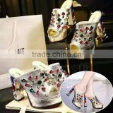 2016 latest high heel shoes for girls/gold shoes and bags to match dress/fashion ladies shoes