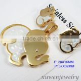 gold plated elephant stainless steel animal jewelry with shell