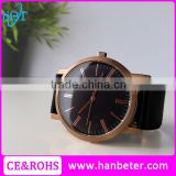 2016 Top Quality Black Face Rose Gold Case Japan Movt Quartz Watch With Stainless Steel Back