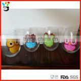 Color Printed package box set of 4 hand painted owl stemless colored wine glass