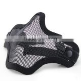 Black Update WarGame Airsoft Hunting Single Belt Steel Mesh Half Face Mask Fast Helmet Adaptable Strike Steel Mesh Mask