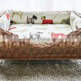 Eco-friendly pet supplies Happy Lives rattan dog bed with canopy wholesale
