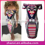 Printed bodycon off shoulder short sexy african kitenge casual women fancy dress designs