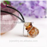 New Products 2016 Glass Perfume Bottle Glow in Dark Pendant Necklace, Murano Essential Oil Pendant Necklace Wholesale