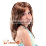 Natural brown long hair wigs for gilrs. Kids synthetic hair wigs. Children hair wigs size