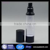 Hot sale black round cosmetic plastic bottle airless pump bottle 50ml cosmetic bottle