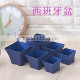 Spanish plastic flower pot blue color square shape for 3 size