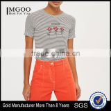 MGOO Factory Supplied Women Flora Embroidered T Shirt 100% Cotton Black And White Stripe T-shirt