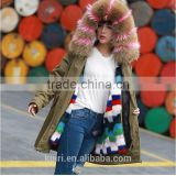 Factory supply woman winter real mink fur parka linging with fox fur collar hood with high quality pc-211