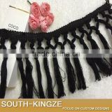 11CM Hallow Out Cotton Material Crocheted Lace Accessories Tassel Fringe Trimming For Sewing Garment Lace Beige Black