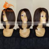 Soft Textile Full Lace Human Hair Bob Wig With Baby Hair Remy Mongolian Hair Silky Straight Bob Style 8 To 12 Inch In Stock