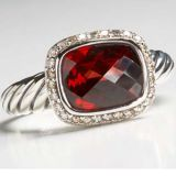 Sterling Silver Jewelry 8x10mm Garnet Noblesse Ring(R-039)