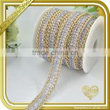 Hot fix ab crystal flackback resin strip bridal trimmings metal rhinestone connector chain FHRS-001
