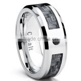 Cobalt Men's Wedding Band Ring with Gray Carbon Fiber Inlay and 0.04 Black Diamond, 8mm Sizes 8-12