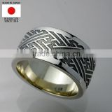 Japanese handmade engraved silver ring , custom order available