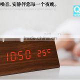 Modern Wooden Alarm Clock DC/AAA Powered Digital LED Desk Alarm Clock Thermometer Temperature Date Time Dispay Clocks Wholesales