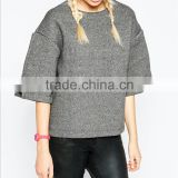 hollow back O-collar horn three quarter sleeveknit women hoodies without hood OEM service