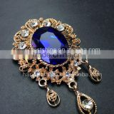 Large Royal Blue Stone Crown Brooch Pins,Rhinestone Broach,Bridal Crystal Broach For Wedding