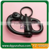 Black snap shackle for paracord bracelet, fixed snap shackle