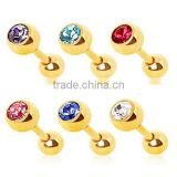 Gold Plated Gem Ball Cartilage Upper Ear Stud Earring Tragus Helix Bar