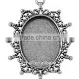 Zinc Alloy Cabochon Settings, Lead Free, Oval, Antique Silver, about 40x30x2mm, about 24x18mm, hole: 2mm(PALLOY-A13178-AS-LF)