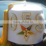 Queens fez hat rhinestones jeweled embroidery oes star 3 row white wool masonic fez hat