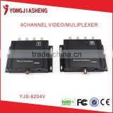 4 Channel analog video multiplexer/Coaxial video transmitter/CCTV multiplexer by coaxial