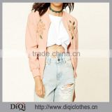 OEM Service Women Eembroidered Bomber Jacket Wholesale With Elasticized Ribbed Knit Trim