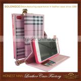 Elegant flip lady phone purse for iphone 6 6 plus with hand strap pink wallet phone purse wholesale