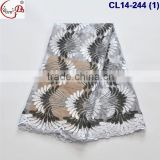 CL14-224 Special design mixed two colors with fans pattern with stones net lace /tulle lace fabric for clothes