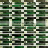 Green arch crystal glass mix antique stone mosaic tile for home interior decoration /wallpapers(PMGSL063)