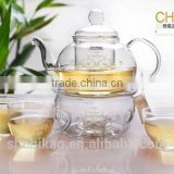 glass teapot and warmer set glassware gift box
