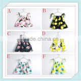 New Summer Baby Girl's Dress Fashion Print Fruit Lemon Pineapple Design Kids Dresses Child Clothing