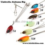 chinese hot sale artifical fishing lures 5 arms umbrella alabama rig