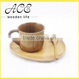 Wooden Creative Simple Design Coffee Milk Mug Tea Spoon with Tray