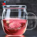 Heat resistant glass cups for home, office/ glass cup for drinking, flower tea, milk,coffee