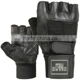 cowhide leather weight lifting glove gym fitness gloves half finger silicon printing or embroidery