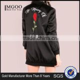 Custom Embroidered Women Longline Satin Bomber Jacket Black Oversized Zip Up Coat With Sides Pockets